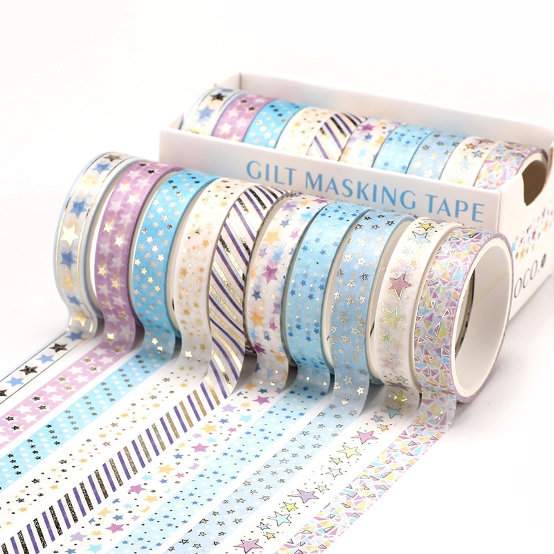 10 Pcs/Set Gold Foil Washi Tape Cute Heart Masking Tape Decorative Adhesive Tape Sticker Scrapbooking DIY  Stationery