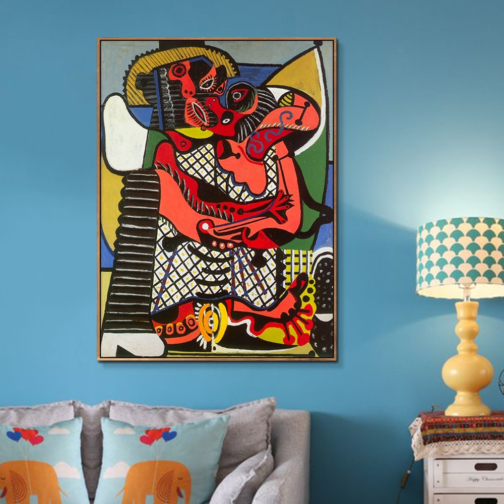 Lienzo pintura el beso por Pablo Picasso Póster Artístico impreso cuadros de pared para dormitorio Sala decoración del hogar