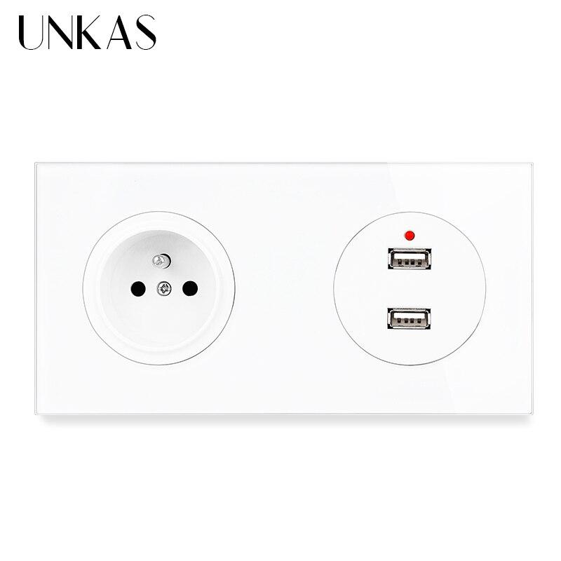 UNKAS الفرنسية القياسية مقبس الحائط + الإناث المزدوج USB ميناء الشحن الناتج LED مؤشر 172 مللي متر * 86 مللي متر والزجاج والكريستال لوحة منفذ