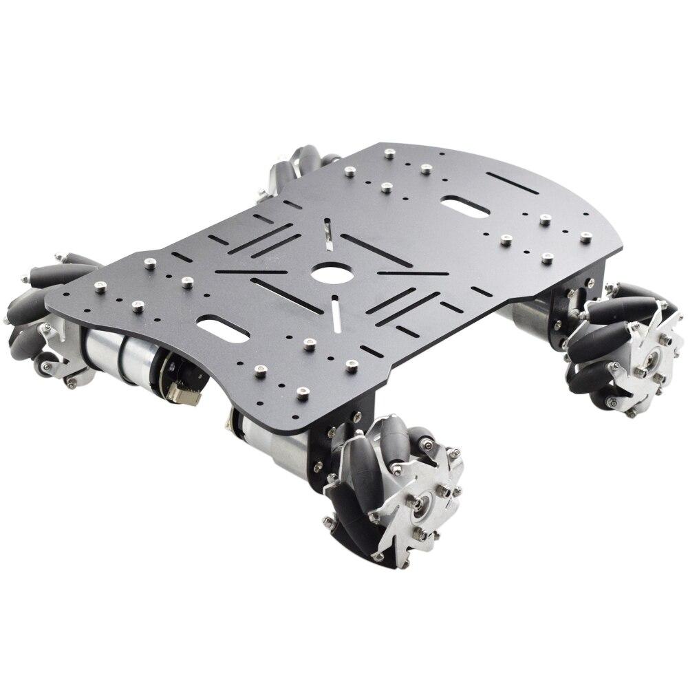 Metal Mecanum Wheel Arduino Robot Car Kit with 4pcs DC 12V Speed Encoder Motor, 4WD Robot Platform Chassis Maximum Load 15Kg