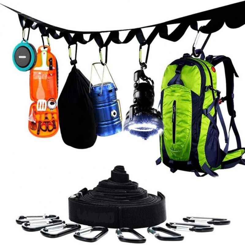 Ремешок для кемпинга на открытом воздухе веревка для хранения веревки для пикника бельевая веревка Радужный ремешок прочный регулируемый ...