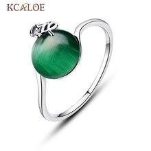 KCALOE naturel vert opale pierre anneau pour fille argent couleur bijoux feuille creuse petite bande ronde mode anneaux Anel Feminino