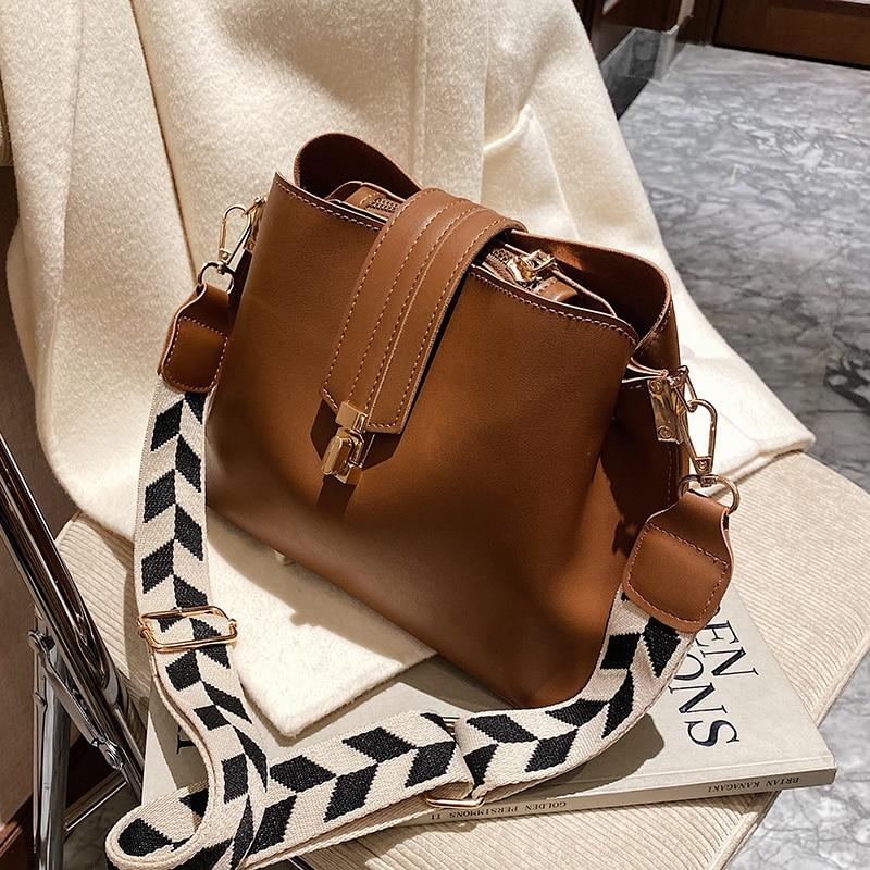 Vintage Simple Small PU Leather Bucket Crossbody Bags For Women 2021 Designer Fashion Lady Luxury Black Shoulder Handbags
