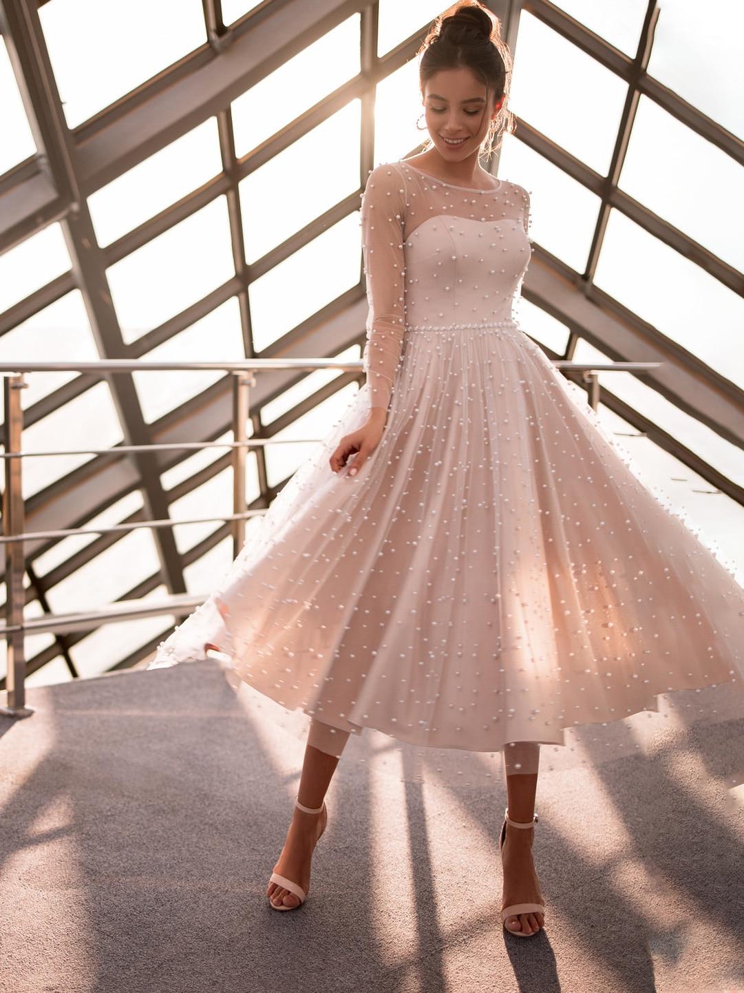 tea-length-pearls-scoop-neck-wedding-bridesmaid-dress-custom-made-2021-illusion-back-long-sleeves-ball-gowns-vestido-de-noiva