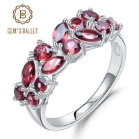 gems ballet 925 sterling silver rose gold plated wedding band 2 47ct natural red garnet gemstone rings for women fine jewelry