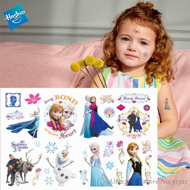 Hasbro, tatuajes temporales de dibujos animados de princesa Elsa para niños, para chica pegatina, tatuaje de juguete de dibujos animados, novedad, Cosplay, regalo divertido