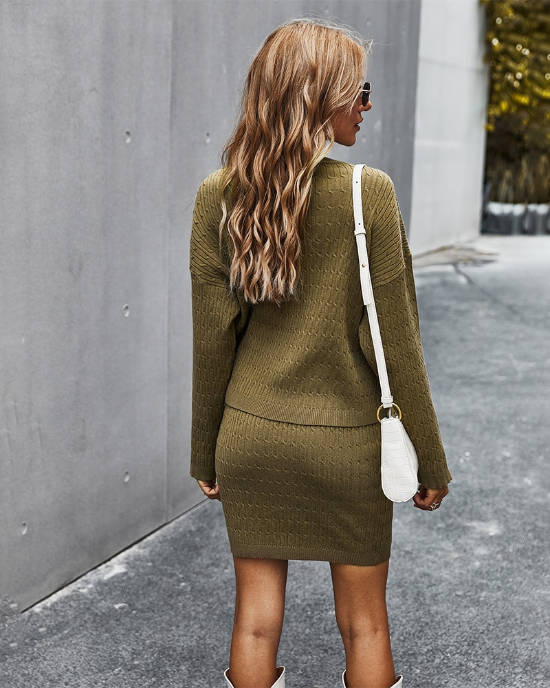 Women Autumn Winter Pullovers Knitted Sweater and Skirt Two Piece Set Solid Color Casual Womens Outfits Knitting Skirt Suit