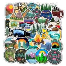 50 pièces Pack autocollants hiver Ski Camping forêt autocollant étanche bricolage pour sur ordinateur portable réfrigérateur téléphone planche à roulettes valise autocollant