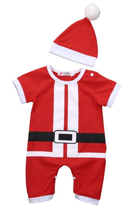 Nouveau-né bébé filles garçons barboteuse combinaison + chapeau noël Santa costumes tenues