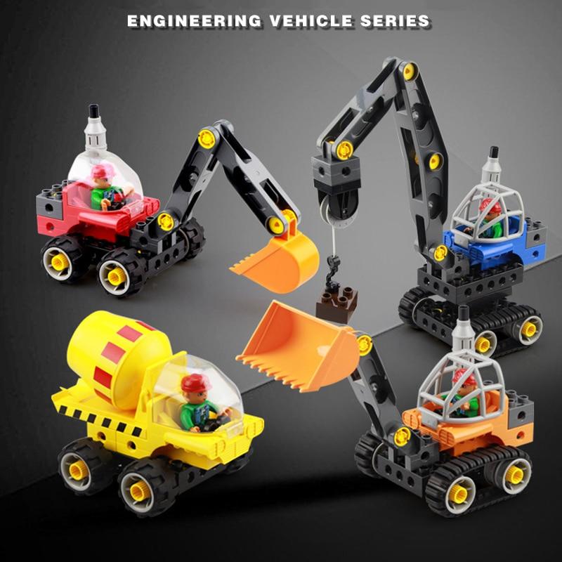 Veículo de engenharia escavação e empurrando grupo de máquinas grande bloco de construção de partículas parafuso montagem brinquedos educativos