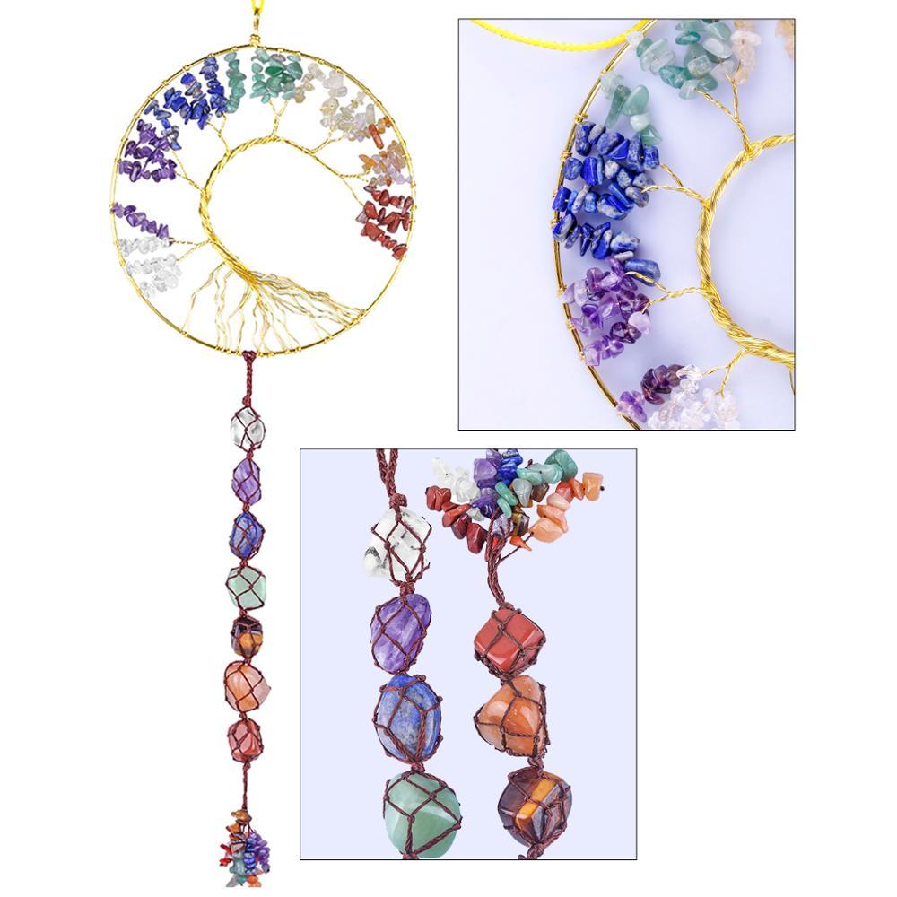 TUMBEELLUWA Wire Wrapped Tree of Life Crystal Sun Catcher Hanging Decorations,Healing Gem stone Window Wall Ornament Home Decor недорого