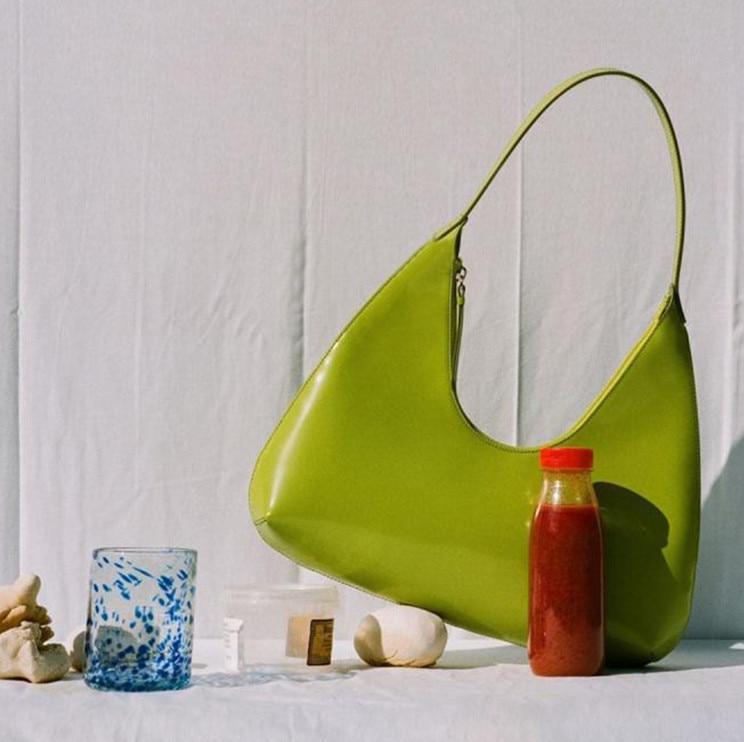 Solid Color Women Baguette Handbags Fashion Ladies Shoulder Bags PU Leather Elegant Female Daily Use Underarm Tote Bag Green