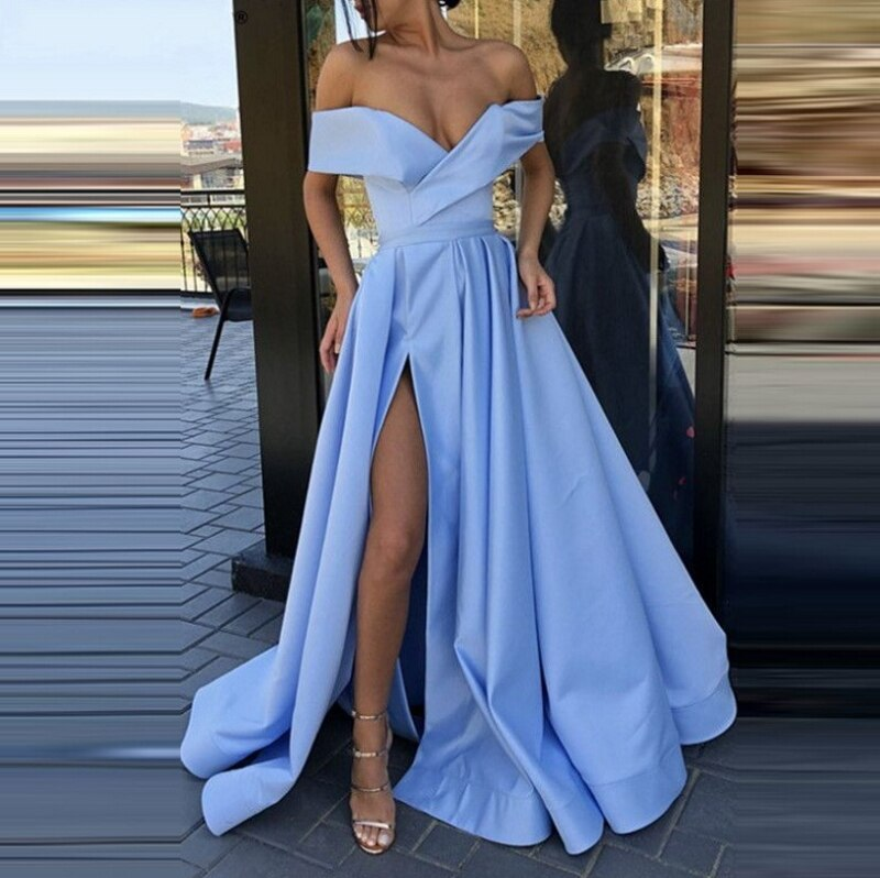 2021 Hot Selling Off Shoulder V-Neck High Split Short Sleeve A-Line Evening Dress Party Dress Backless Prom Dress