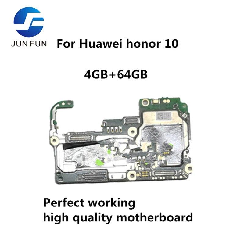Placa base desbloqueada JUN FUN para Huawei honor 10 6GB + 64GB placa base Android OS placa lógica con Chips completos