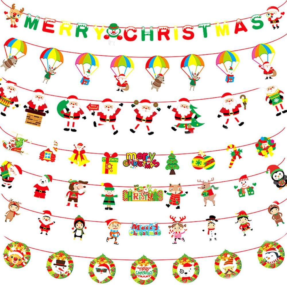 3m natal bunting banners feliz natal bandeiras de papel pennant pendurado buntings diy guirlanda banner de natal decoração de casa