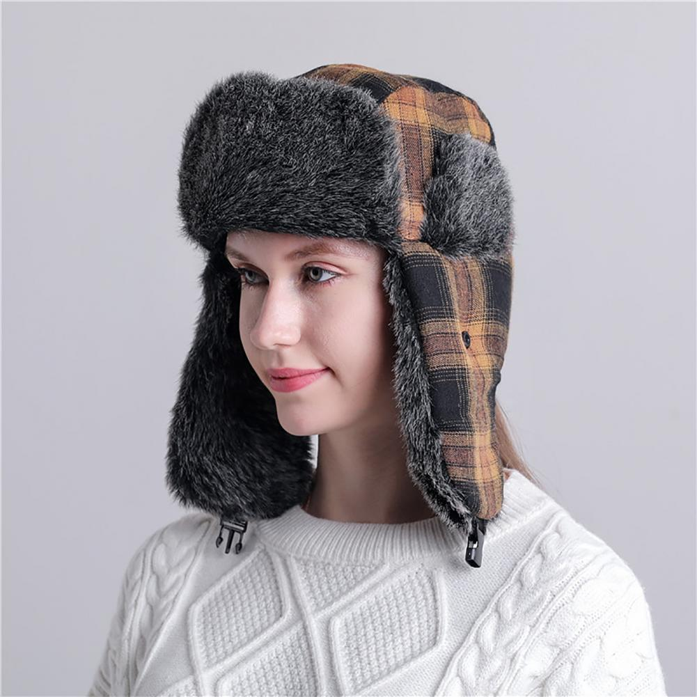Bomber Hats For Women Men Modern Ear Warmer Thick Winter Lei Feng Plaid Trapper Hat for Cycling Wint