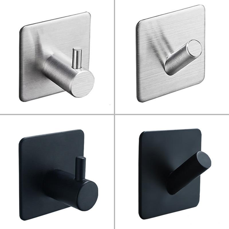 SUS304 Black Robe Hook Wall Hook Towel Hook for Bathroom Stainless Steel Coat Hook Rustproof Hook Hanger for Kitchen Hardware