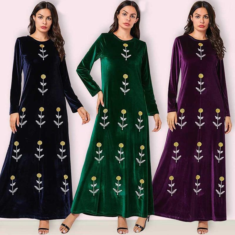 Vestidos mais tamanho longo maxi floral bordado vestido de veludo feminino vestidos de senhoras sukienki ropa mujer robe longue femme elbise