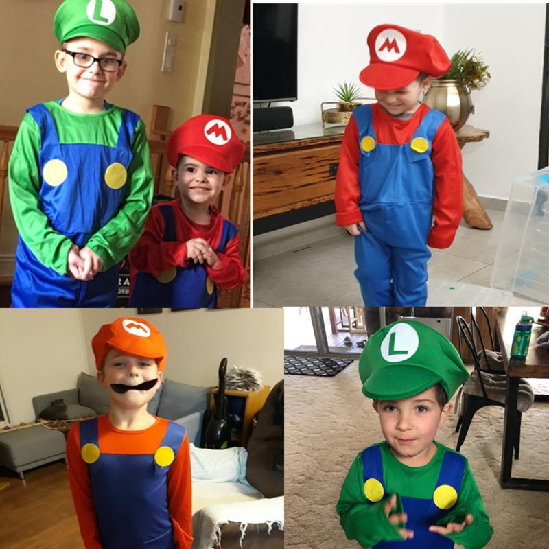 Super Mario Bros. Cosplay adult and children costume props, Halloween party festival MARIO & LUIGI plays dress