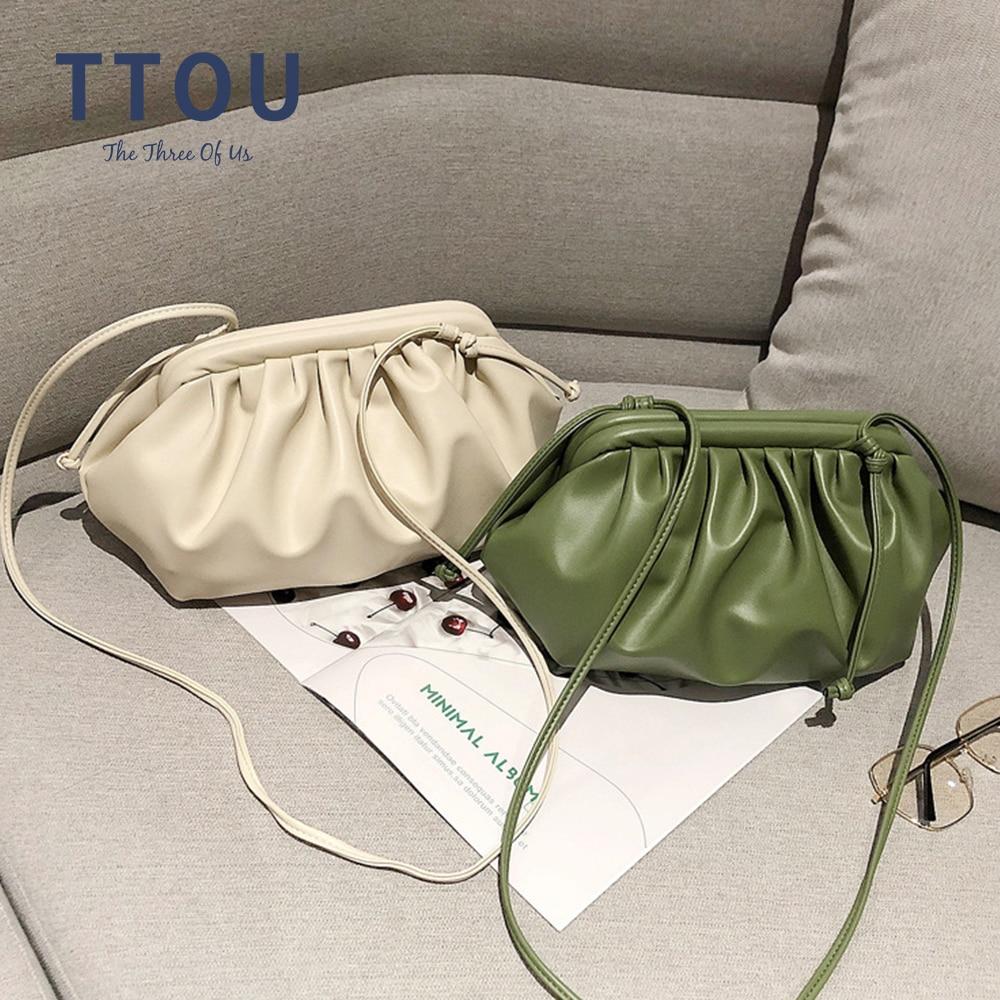 Mode nuage enveloppé doux en cuir PU petit sac épaule oblique boulette sac à main jour embrayages sacs messager sac à bandoulière