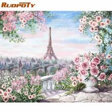 Ruopoty marco romántico París DIY pintura por números paisaje pintura acrílica por números para el hogar pared arte imagen regalo 60x75cm
