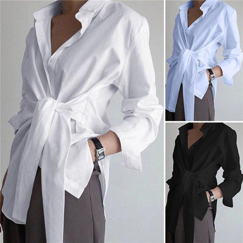 Фото - Женская Асимметричная блузка со шнуровкой, Повседневная Блузка с длинным рукавом, рабочая блузка на пуговицах, размера плюс туника, 2021 тенсельная блузка со стиркой