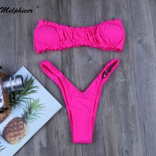 Melphieer Mädchen Sommer Strand Neue Bikini Set Rosa Brasilianische Bademode Bandeau Biquini Micro Badeanzug Badeanzug Maillot De Bain