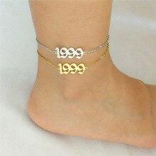 10Pcs Enkelband Groothandel Geboorte Jaar Nummer Enkelbanden Vrouwen Oude Engels 19911992 1993 1994 1999 2000 Tornozeleira Feminina