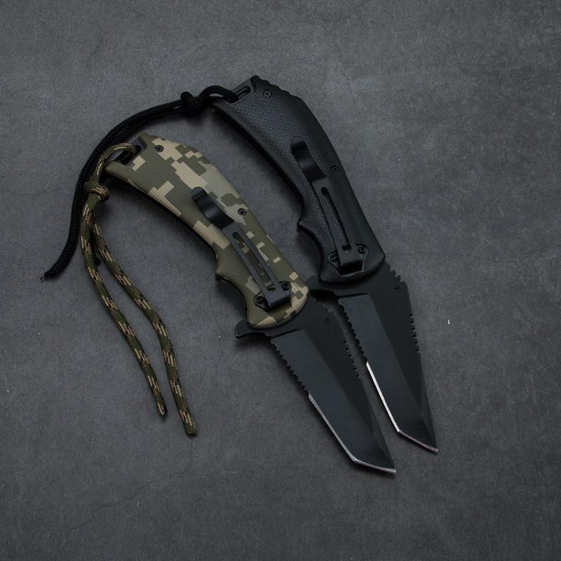 Outdoor Folding Knife Wilderness Survival Knife Multi-function Tool Knife High Hardness Stainless Steel Knife Pocket Knife