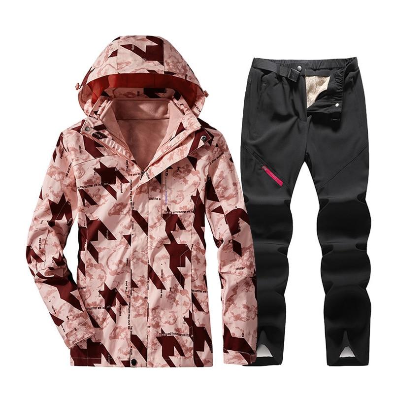 Женский лыжный костюм, зимняя уличная Водонепроницаемая Лыжная куртка и штаны, ветрозащитные теплые зимние брюки, лыжные сноубординг, набо...