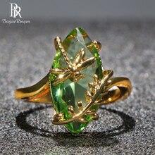 Bague Ringen 100% S925 Bague en argent Sterling avec ovale émeraude pierre précieuse pour les femmes bijoux de fiançailles pour mariage en gros cadeau