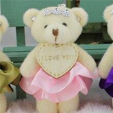 O kawaii encheu os animais do luxuoso brinquedos bonecas macias, mini ursos dos buquês do diamante de 11 cm, urso do presente do natal do aniversário das crianças da decoração do casamento