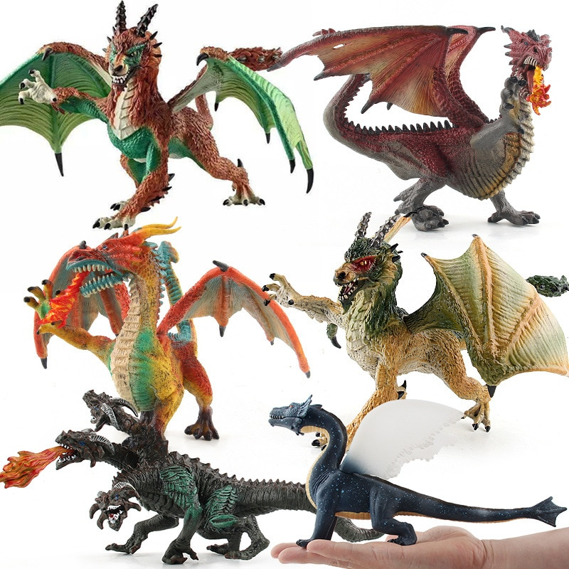 simulation pvc figure series of marine animals toys decoration new boxed toy model gift 13pcs set Action Figure Simulation Magic Ice Fire Rock Dragon Dinosaurs Pvc Solid Toy Doll Model Decoration Collection Kids Adults Gift