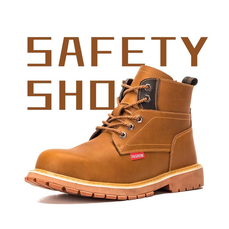 Нескользящая подошва-устойчивые ботинки Martin британский стиль; Рабочая обувь износостойкая рабочая обувь защиты тренировочные бутсы