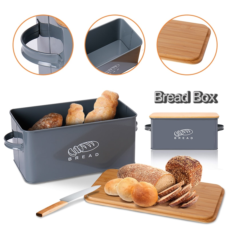 Storage Boxes Bread Bins With Bamboo Cutting Board Lid Metal Galvanized Snack Box Handles Design Kit