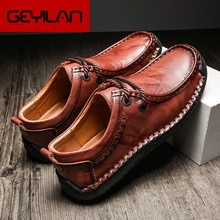 Genuine Leather Men Casual Shoes Retro Lace Up Sneakers Male Handmade Low-Top Men Shoes British Styl