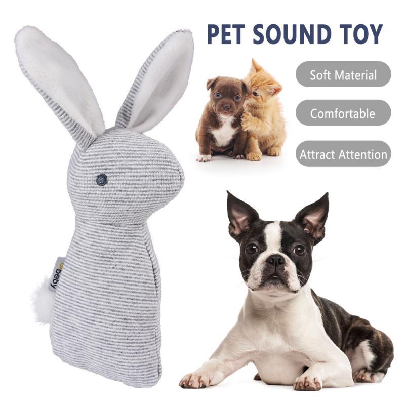 Mascota cachorro masticable chirriante juguete de peluche lindo orejas largas conejo sonajero juguetes muñeca móvil mano campanas Stick juguetes con BB Sound Juguetes