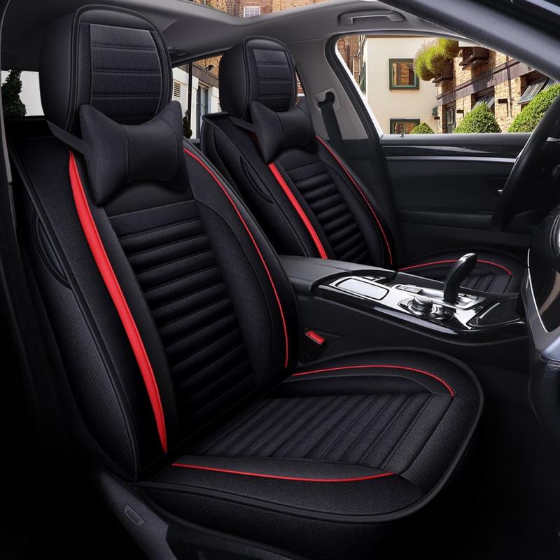 Cubierta completa de fibra de lino para asiento de coche, fundas de asientos de coche para Kia morning picanto rio cerato seed optima stinger k9 k900quoris