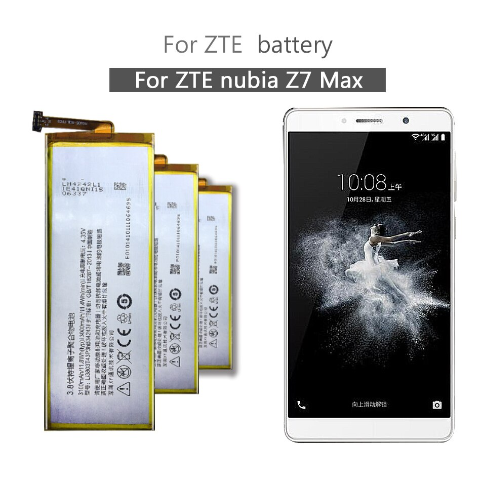 For ZTE Nubia Z7 Max NX505J Z7max 3100mAh Rechargeable Lithium Polymer Battery Li3830T43P3hB34243 For ZTE Nubia Z7 Max NX505J Z7