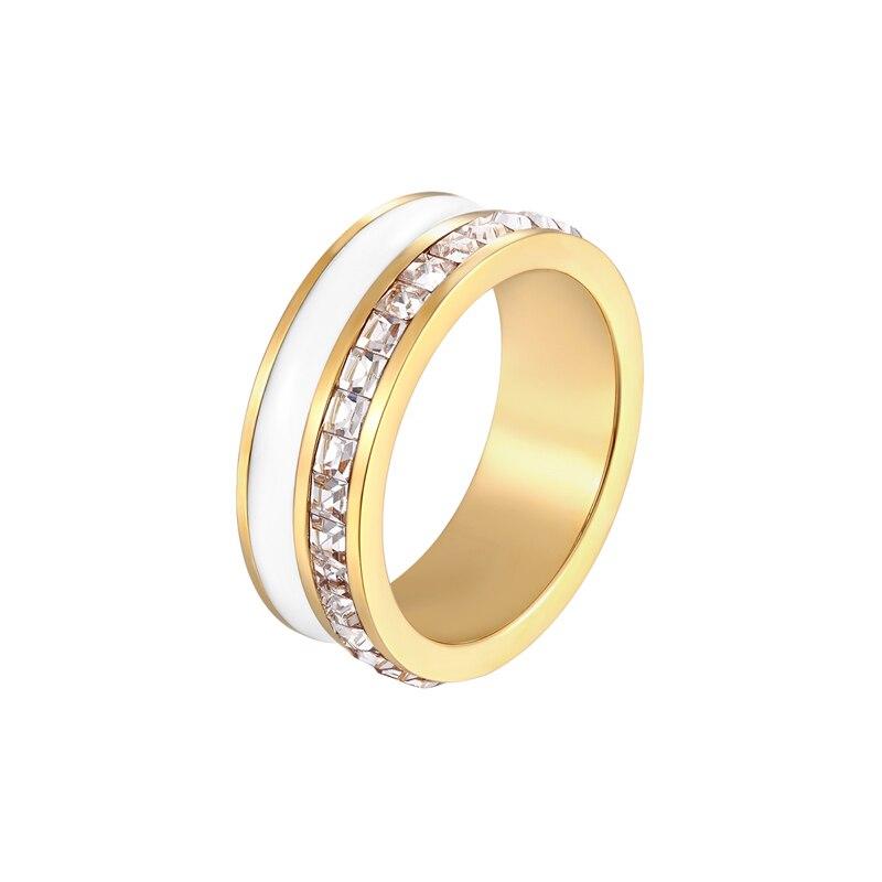 Красивая черно белая эмаль и искусственное золотое покрытие|Обручальные кольца|