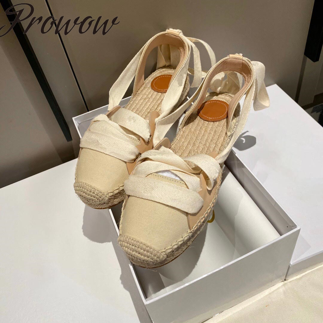 Oney New Summer Gladiator Lace Up Luxury Brand Espadrille Flats Summer Sandals Shoes Women Zapatos M