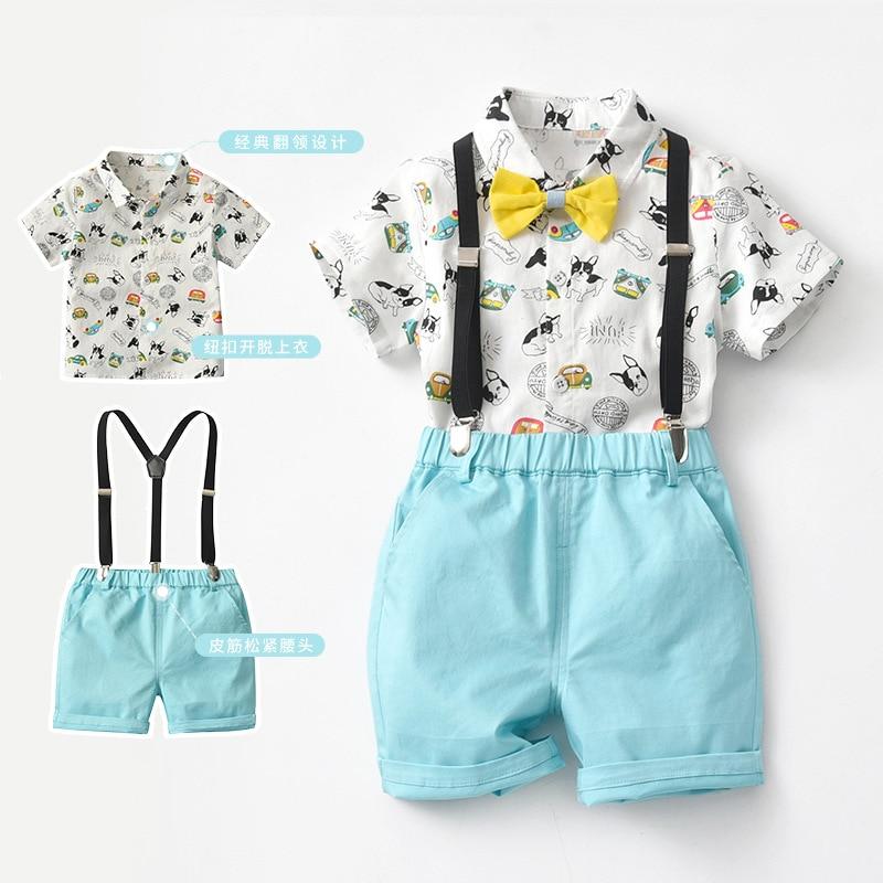 Brand Children's Clothing 2021 Summer Crossover Cartoon Pure Cotton Gentleman Sling Suit Baby Boy's Top