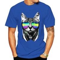 velocitee mens t shirt dj cat colourful neon festival music clubbing a19950