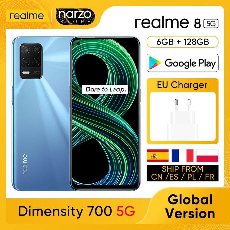 Перейти на Алиэкспресс и купить realme 8 5G Мобильный телефон [Глобальная версия] 6GB RAM 128GB ROM Dimensity 700 5G Дисплей 6.5'' 90 Гц 48MP тройная задняя камера Аккумулятор 5000 мАч 18 Вт