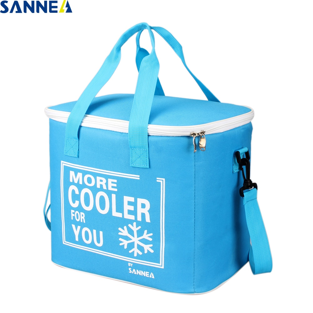 SANNE 21L Large capacity solid color cooler bag thermal insulated waterproof portable box ice pack