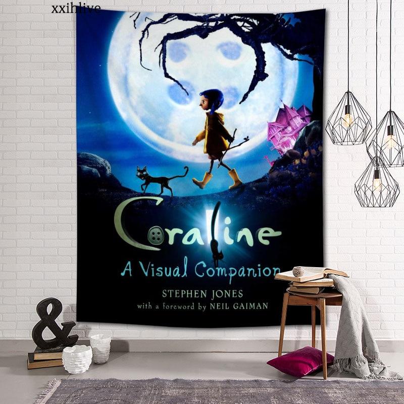 Гобелен на заказ, большие настенные гобелены с рисунком аниме коралин, хиппи, настенные подвесные богемные украшения для стен, декор для ком...