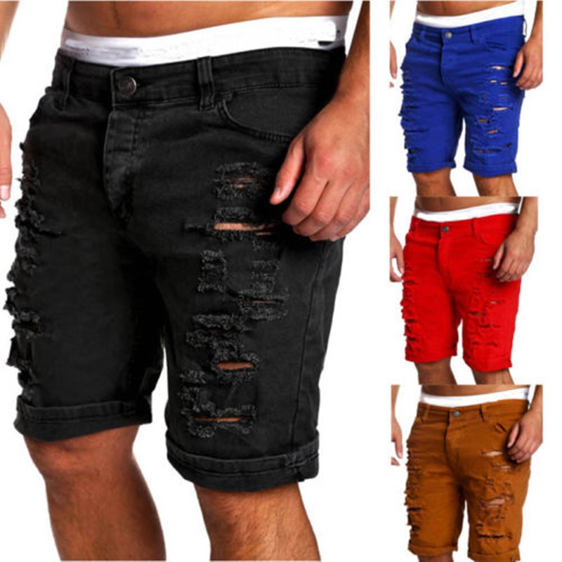 Men's Denim Chino Fashion Shorts Washed Denim Boy Skinny Runway Short Men Jeans Shorts Homme Destroyed Ripped Jeans Plus Size