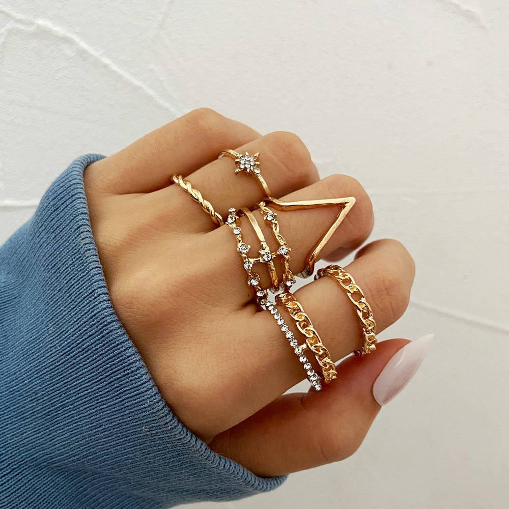 New Product Exaggerated Personality Golden Ring Creative Geometric Inlaid Rhinestone Ring 5-piece Se