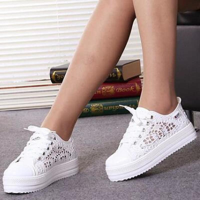 Zapatos informales de lona con cordones párr mujer de calzado plano con...