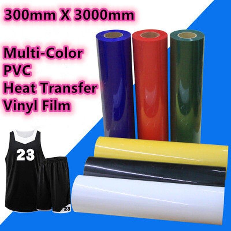 30cm x 300cm pvc filme de vinil de transferência de calor multi-cor máquina da imprensa de calor t-camisa ferro na folha de impressão htv filme de roupas diy
